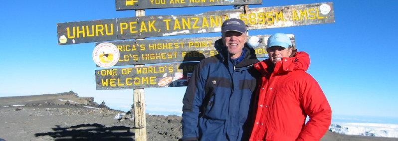 Tom and Germaine at Kilimanjaro summit