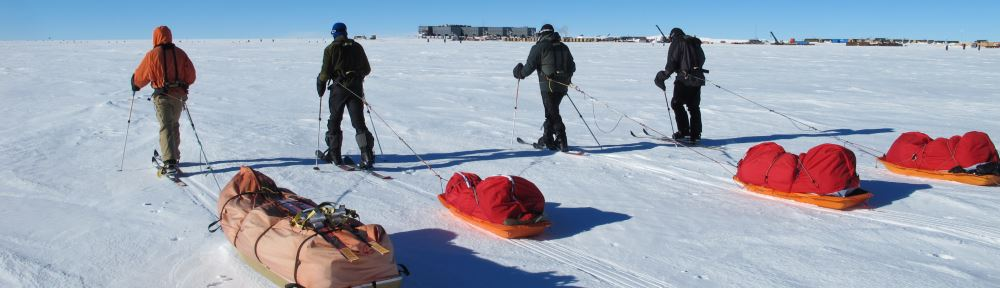 Nearing South Pole Station on skis