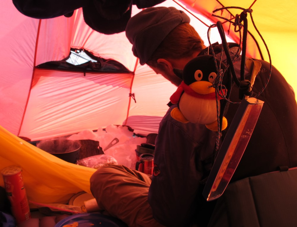 cooking in tent