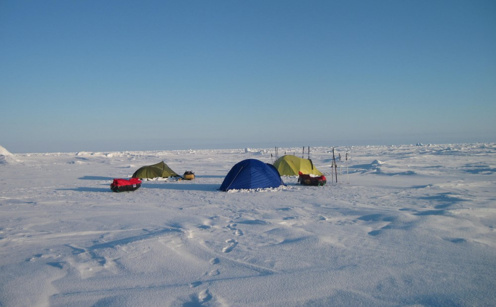 Our first camp: midnight on the ice