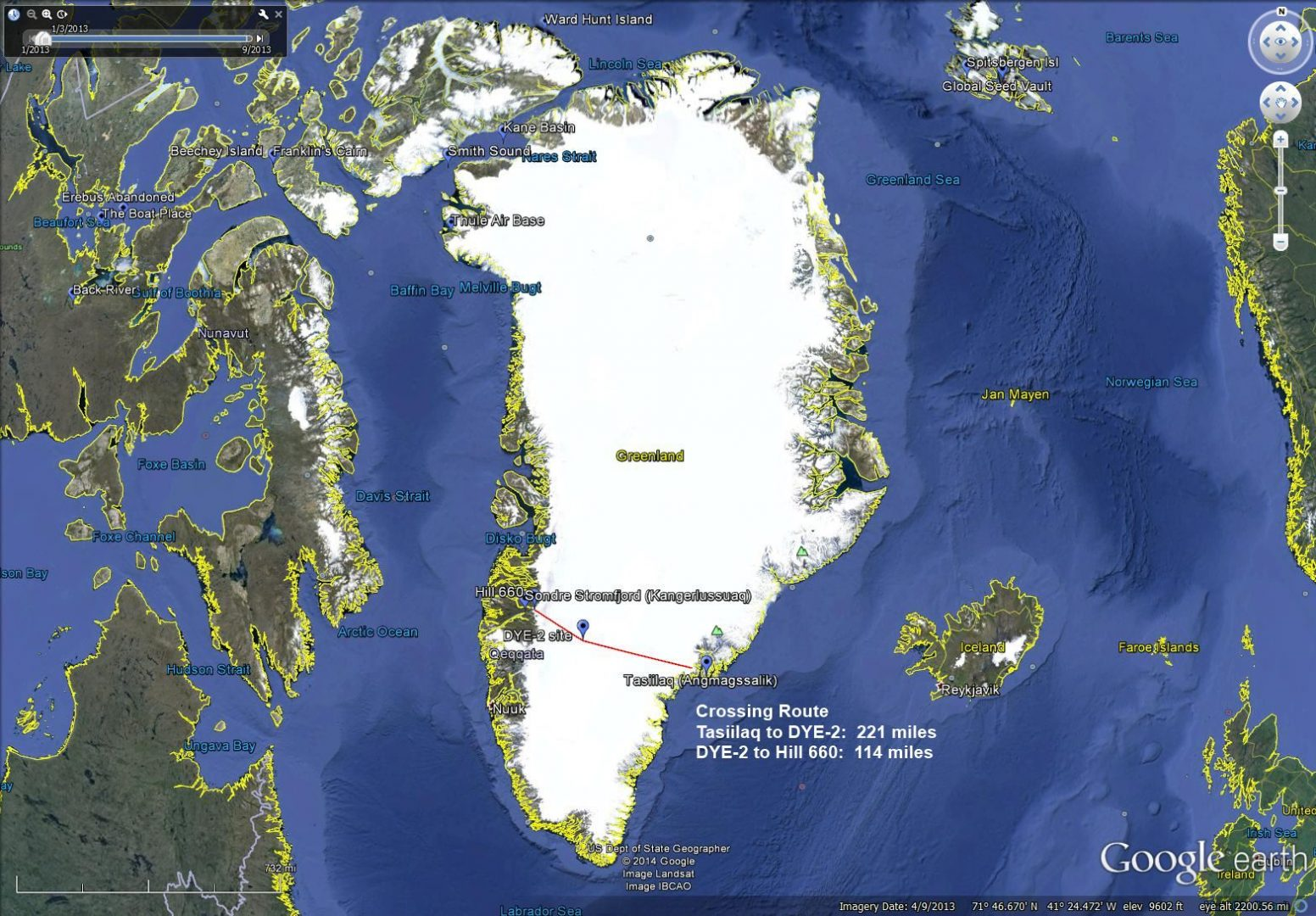 Greenland Crossing Route