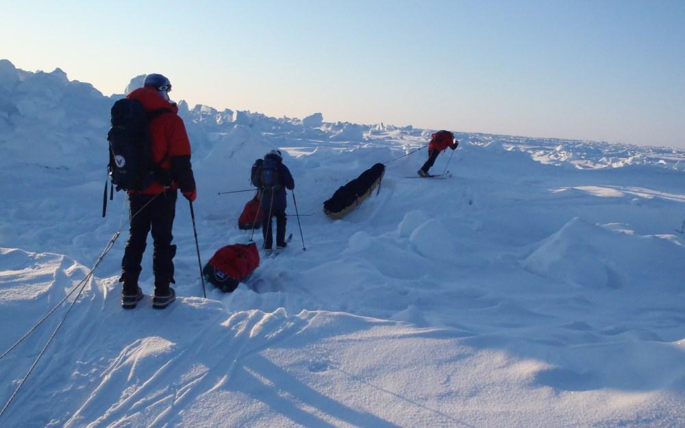 Disturbed ice: pressure ridge