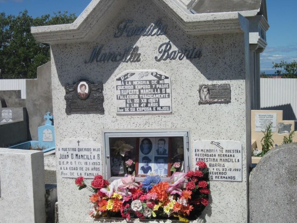 Headstone with photos