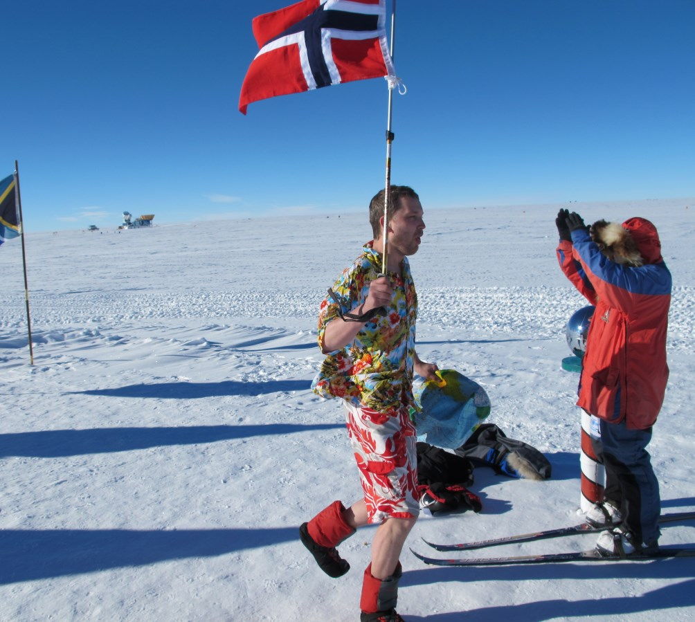 In shorts at South Pole