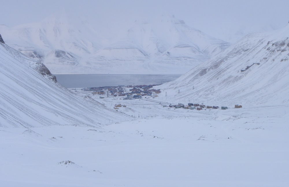View towards town from glacier