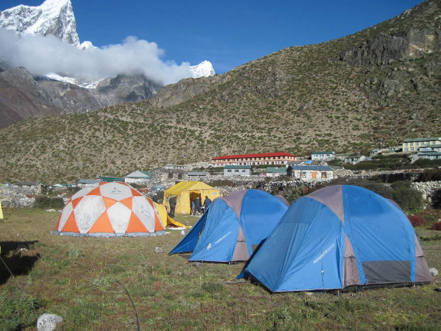 Dingboche Campsite with Ama Dablam above